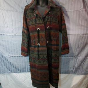 Woolrich long multicolored coat women's medium